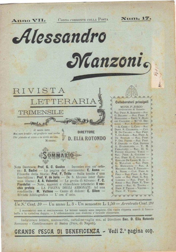 Alessandro Manzoni Anno VII n.17 del 25 giugno 1899 (coll. Gaetano Fontana)