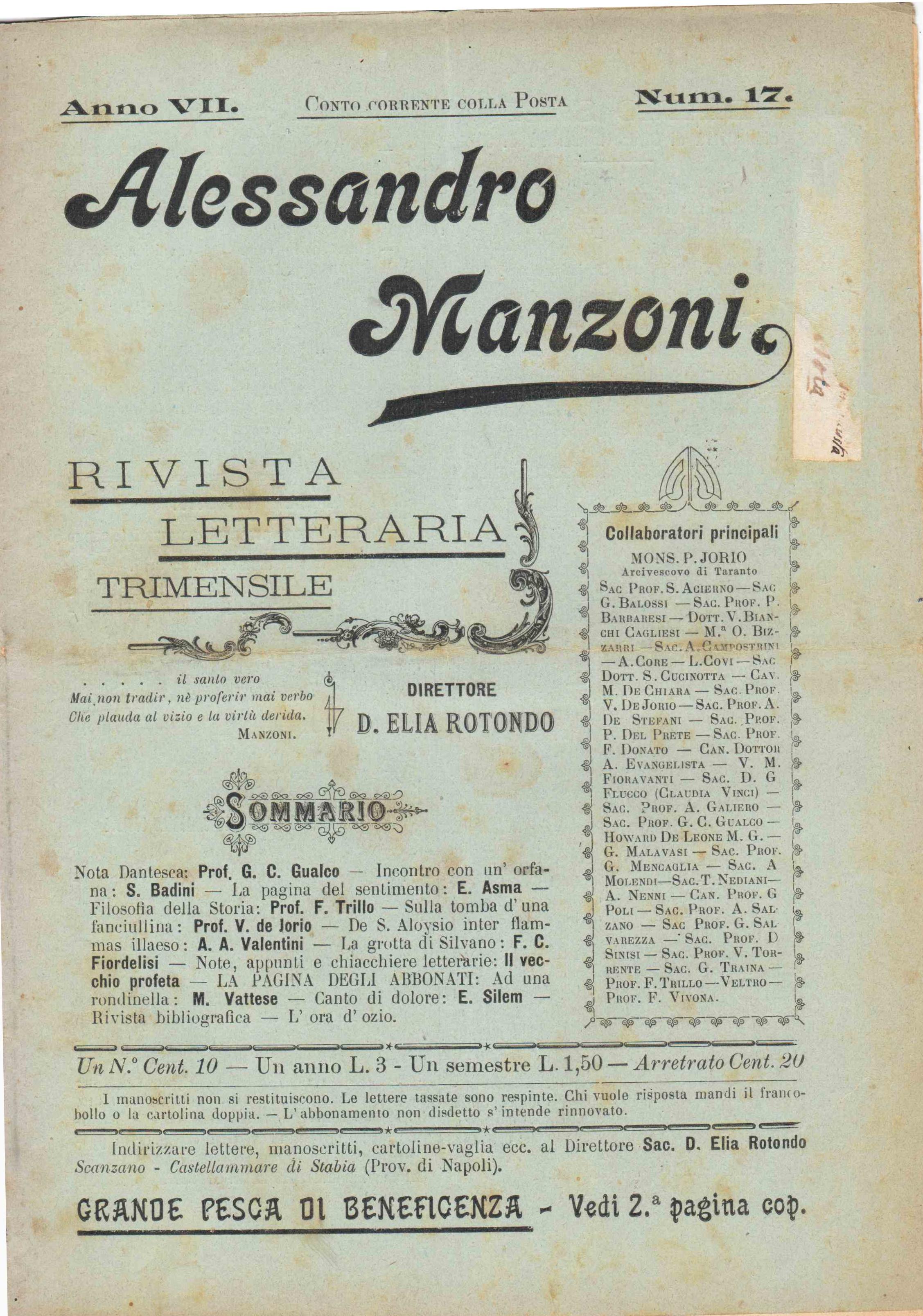Alessandro Manzoni - Rivista letteraria edita a Castellammare - Anno VII n.17 del 25 giugno 1899 (coll. Gaetano Fontana)