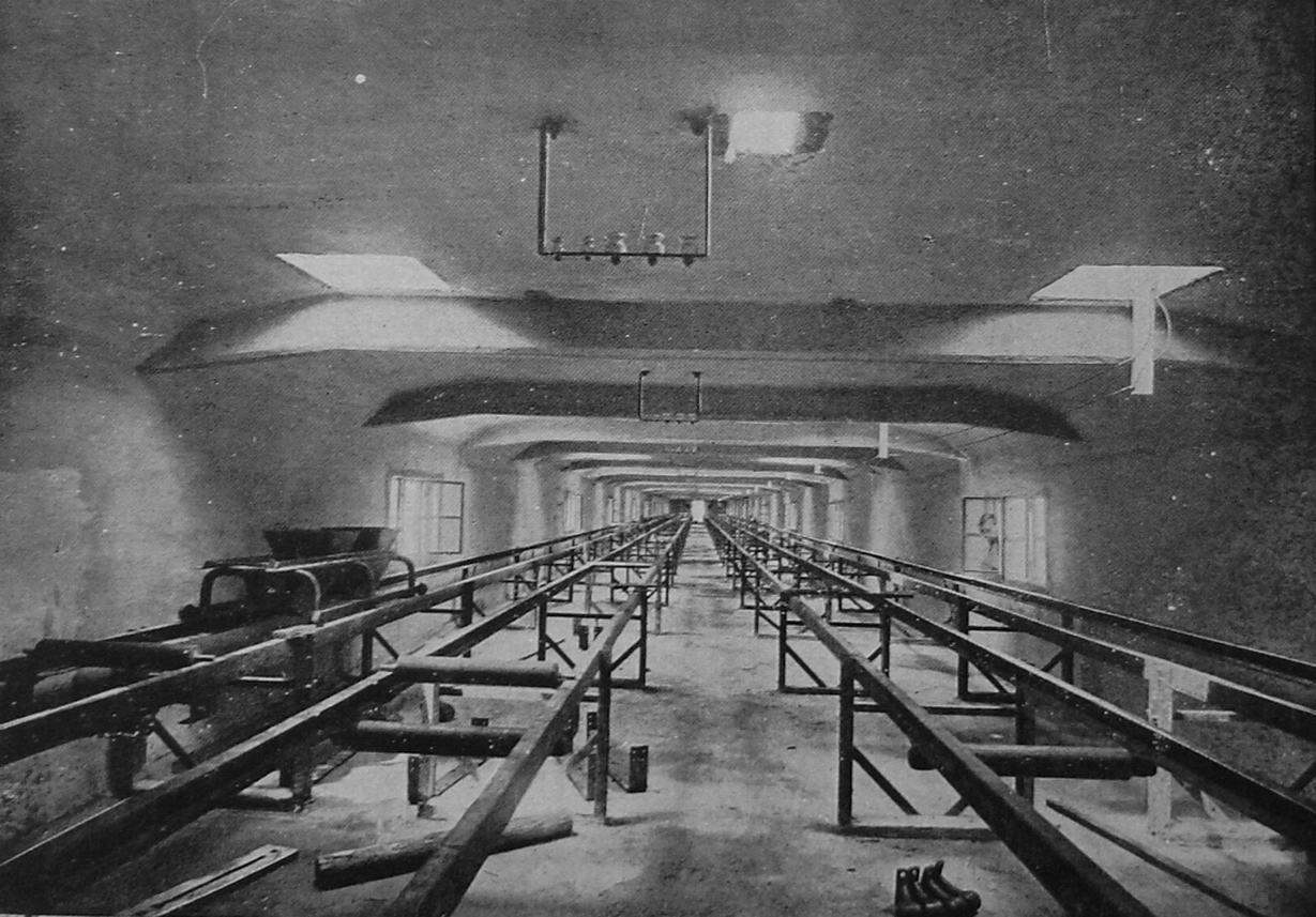 I nastri trasportatori all'interno del pontile galleria