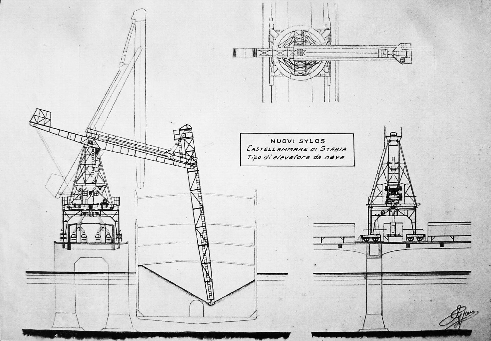 Gli elevatori che scaricavano il sale e il grano dalle navi ai nastri trasportatori del pontile galleria