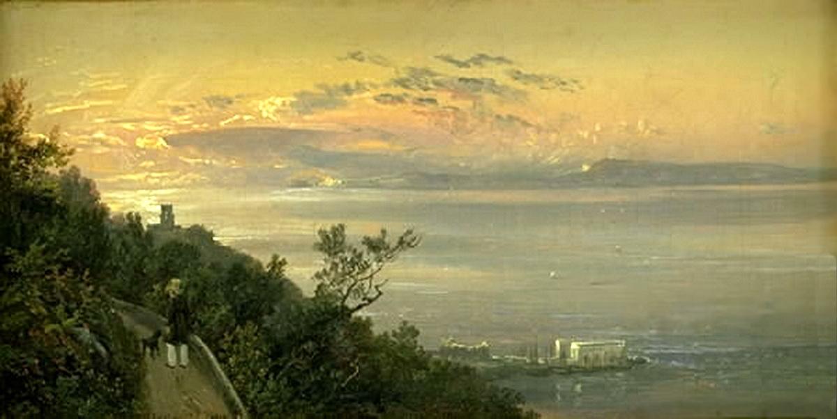 Veduta dalle Colline sopra Castelammare (4 Settembre 1820), Jhoan Christian Claussen Dahl. Olio se tela 15x28,5 Statens Museum for Kunst, Copenaghen