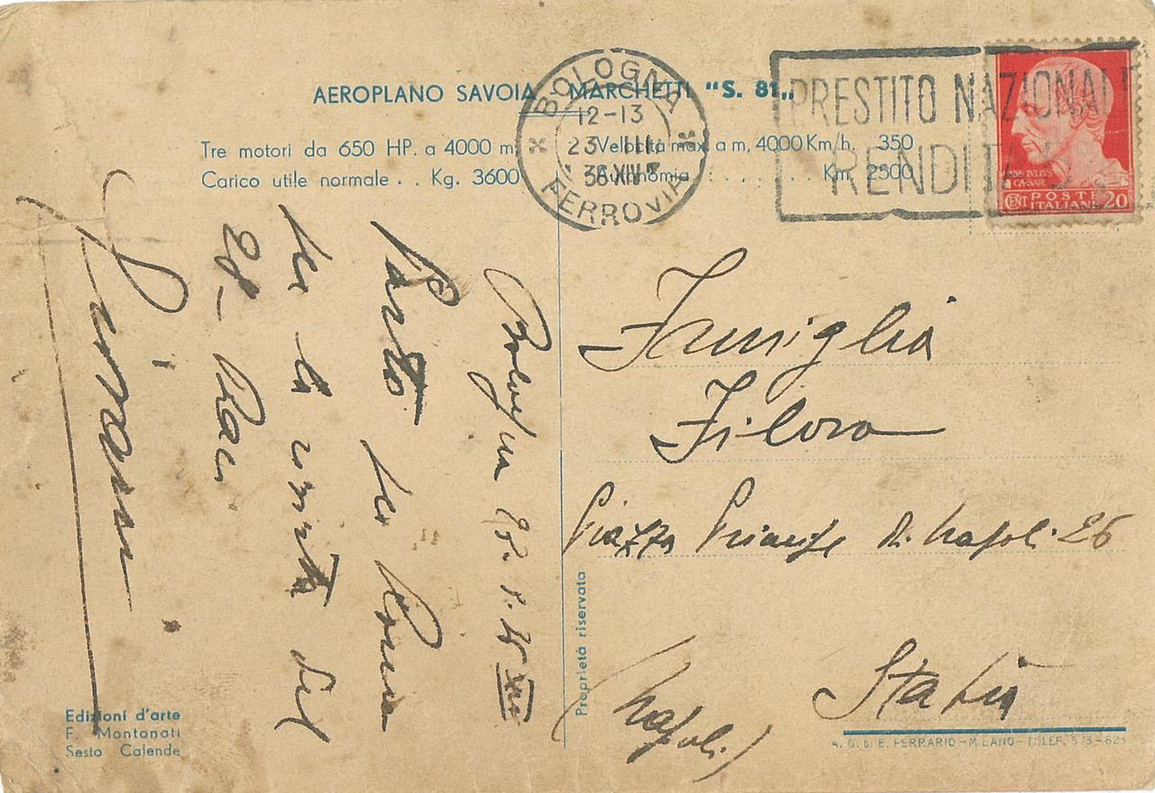 Cartolina Aeroplano Savoia