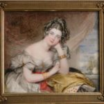 Elizbeth Acton, Lady Throckmorton, acquerello su avorio 1829, Coughton Court, Warwickshire