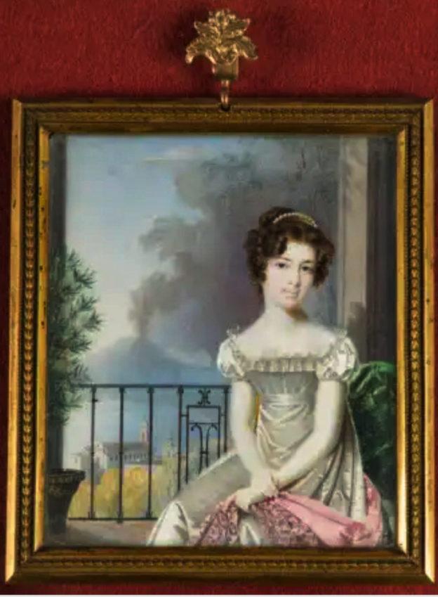 Nicolas François Dun, Mary Anne Acton, Lady Acton (1784-1873), Acquerello su avorio 1823, dimensioni 13x11, Coughton Court, Warwickshire 2