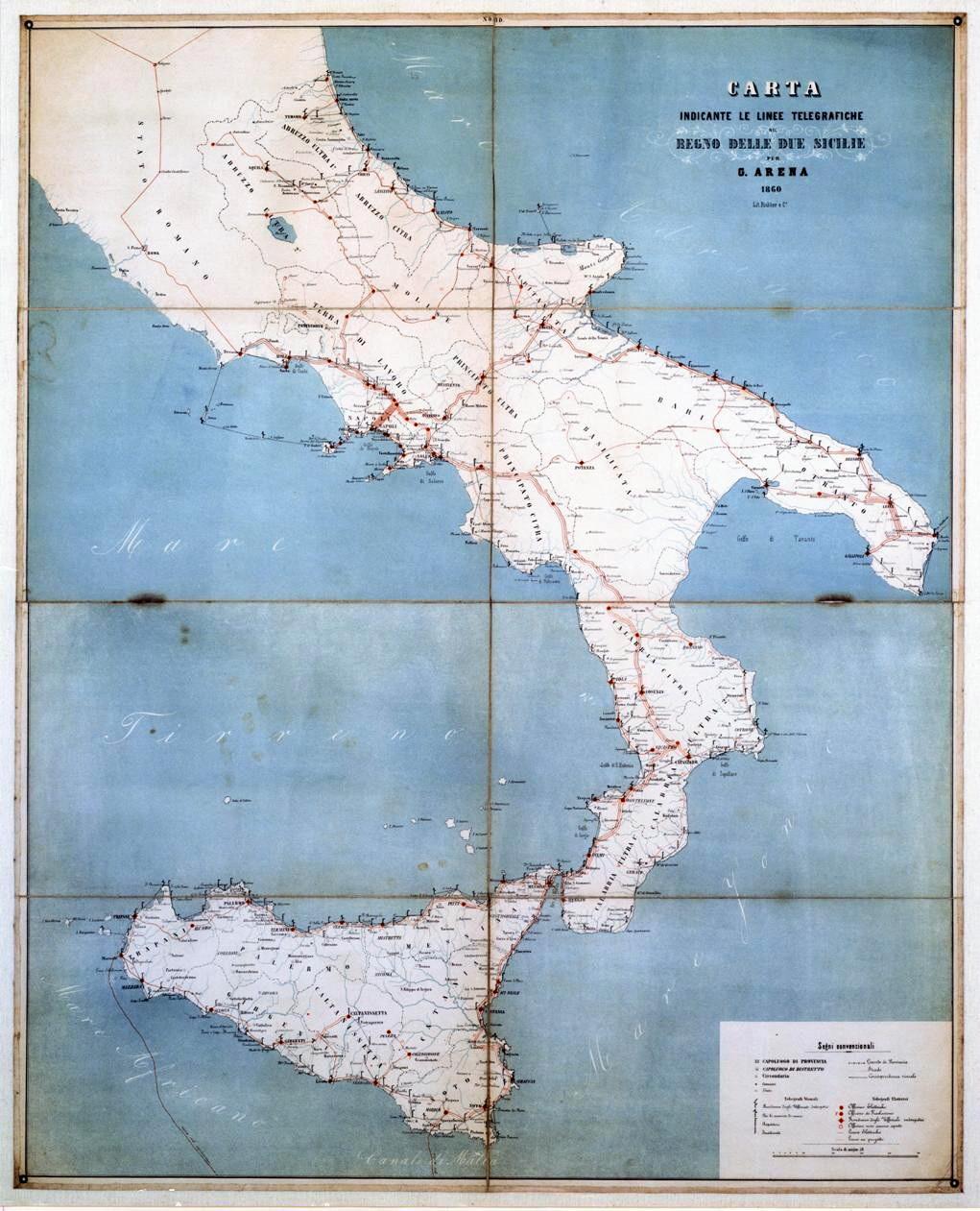 Posti Telegrafici del Regno delle Due Sicilie, 1860
