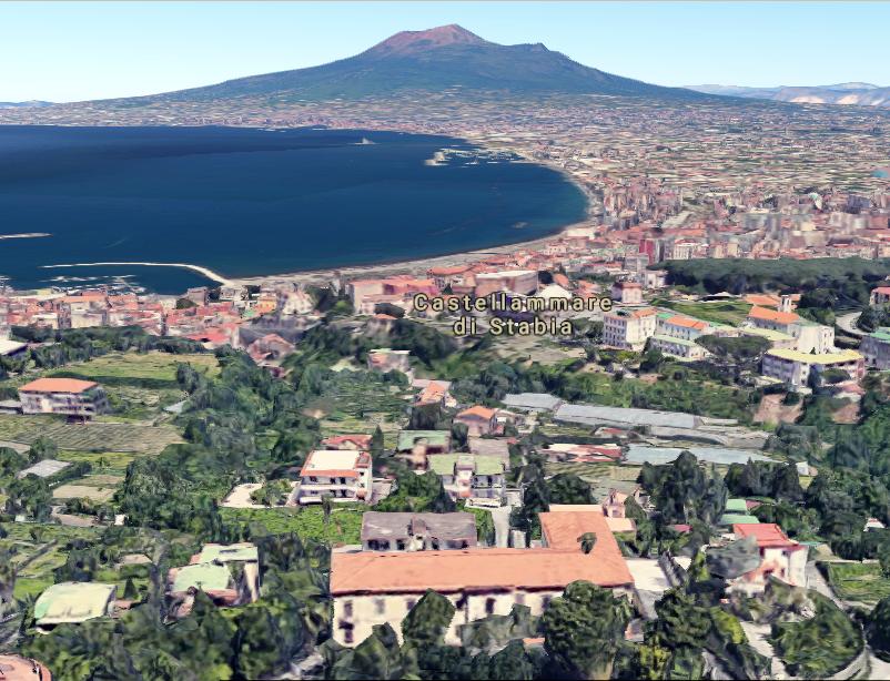 Palazzo Acton ed il Vesuvio da Castellammare