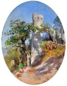 Giacinto Gigante, Il Castello di Castellammare, acquerello su carta, 27.5 cm x 20 cm