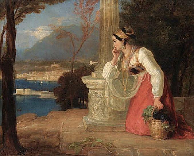 Thomas Uwins, Castellammare, ragazza napoletana con cesto di frutta ai piedi di una colonna e porto