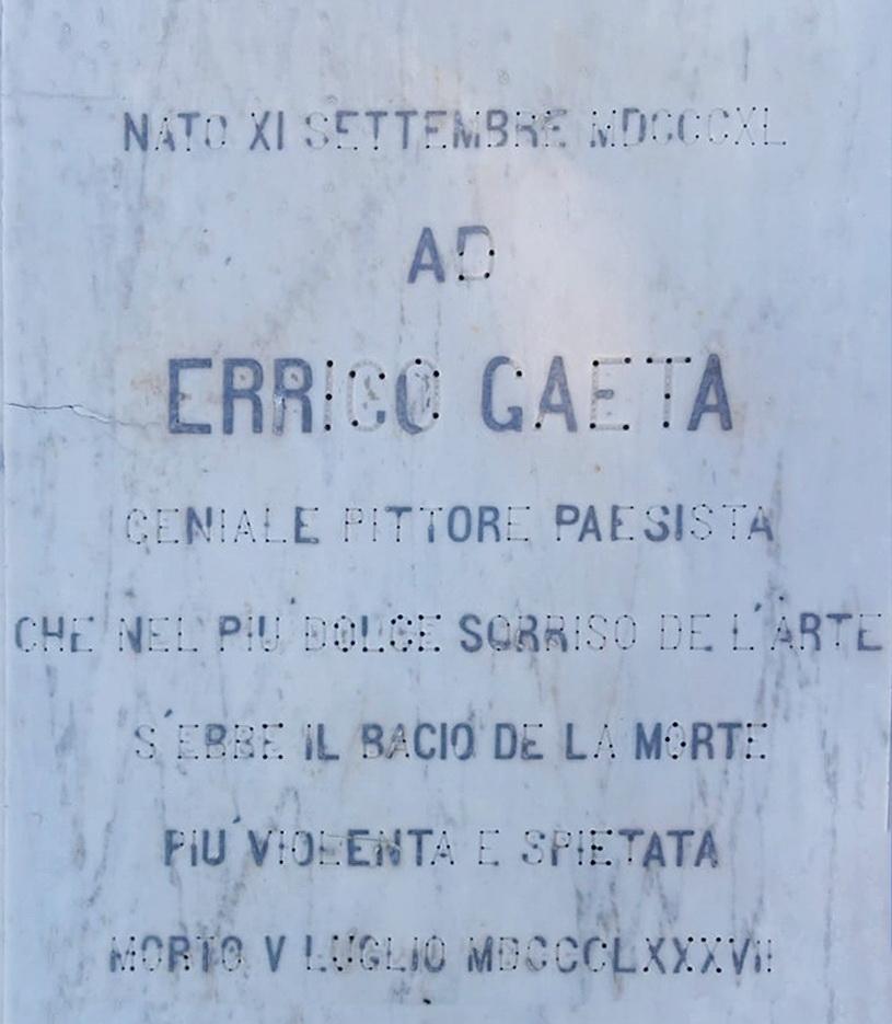 Lapide della tomba di Errico Gaeta, foto Maurizio Cuomo