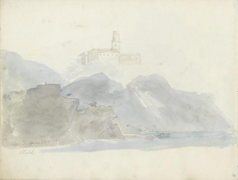La chiesa di Pozzano; parte costiera a Pozzano