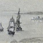 Seilskuter i Napoli golfen, 27-10-1820, 122 x 301 mm