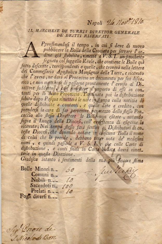 Documento a firma Marchese de Turris, collezione Gaetano Fontana