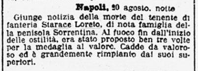 Loreto Starace notizia morte