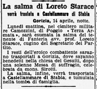 Loreto Starace, traslazione della salma a Castellammare