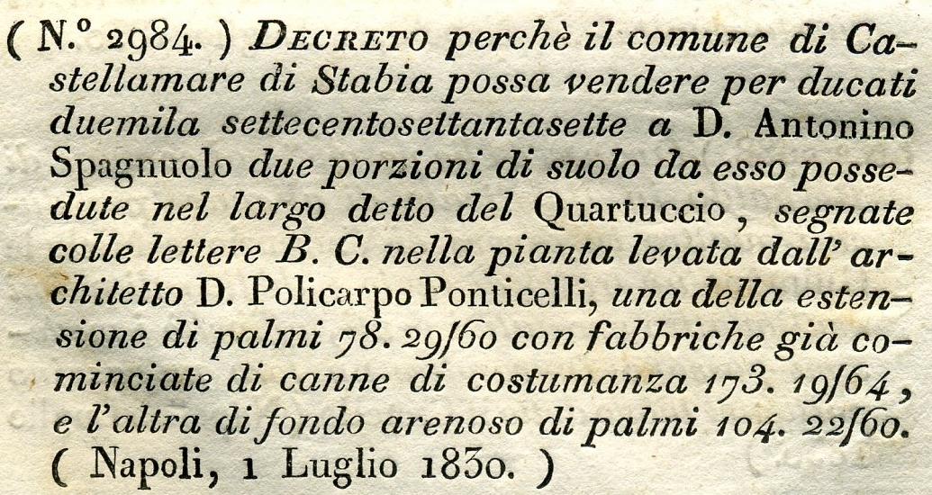 Fig. 4 Particolare decreto Quartuccio (Estr. da Collezioni delle leggi e de' decreti reali del Regno delle Due Sicilie a. 1830 n°. 133).