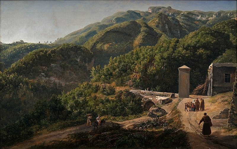 Johan Christian Dahl, Hills near Quisisana in morning light, 1 January 1820, olio su tela, 45.5x68, Bergen Kunstmuseum