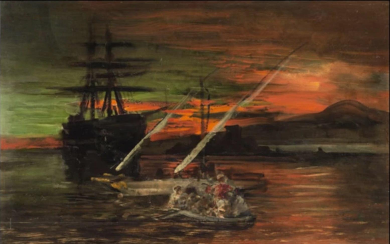 Nave fantasma nel Golfo di Napoli, Oswald Achenbach