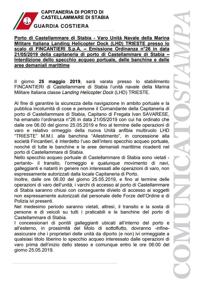 Comunicato Stampa Varo Nave Trieste 1