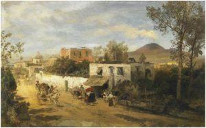 Strada di campagna a Pompei. Sullo sfondo il fumo del Vesuvio
