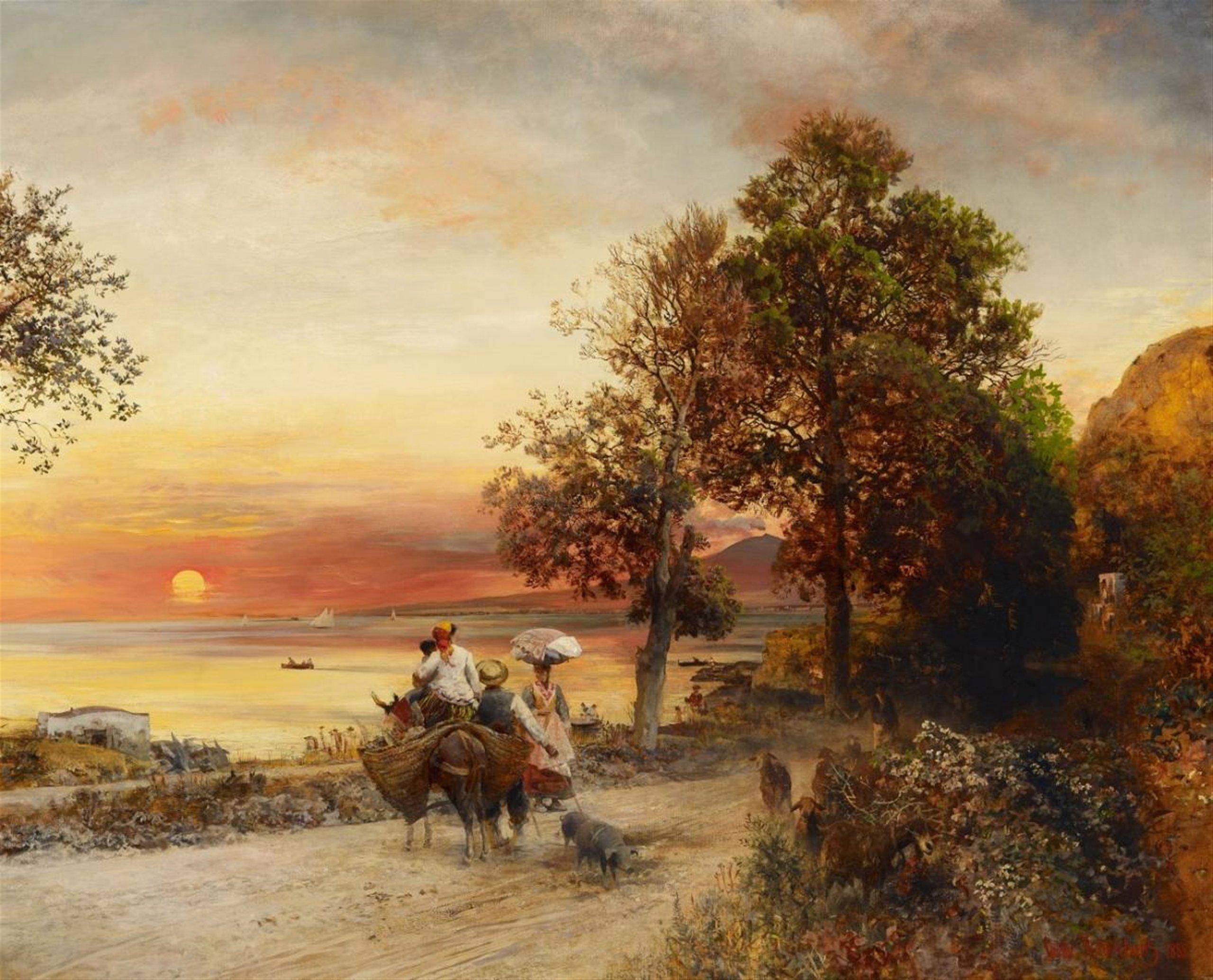 Oswald Achenbach, Nel golfo di Napoli, Olio su tela 120 x 150 cm, 1888