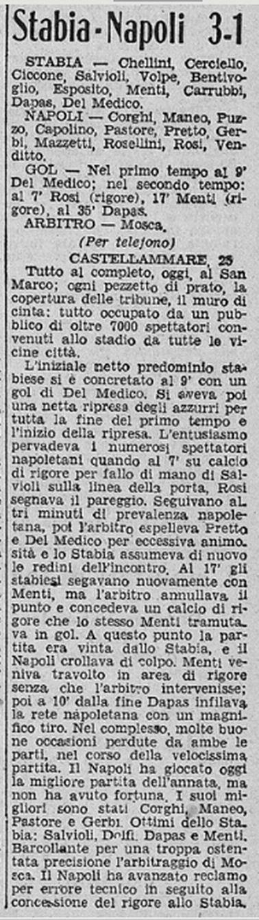 Stabia-Napoli 3-1
