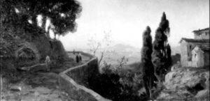 Oswald Achenbach, Paesaggio con Vesuvio