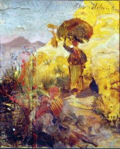Oswald Achenbach, Studio di una figura femminile nel paesaggio meridionale