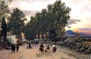 Oswald Achenbach, Sulla strada vicino a Napoli