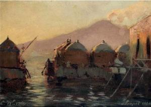 Carl Wuttke, Badehutten in Castellamare, 1880, olio su legno, 24x33