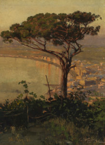 Carl Wuttke, Golf von Neapel im Abendlicht, Olio su carta, posato su pannello, 30 Agosto 1881, 31.7 x 23.5 cm