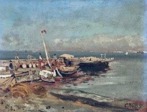 Carl Wuttke, Im Hafen von Castellamare, 13 Agosto 1881, olio su cartone applicato a pannello 23,5x31,4