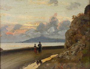 Carl Wuttke, Passanti sul lungomare, scenario costiero sul Golfo di Napoli, e Vesuvio fumante,