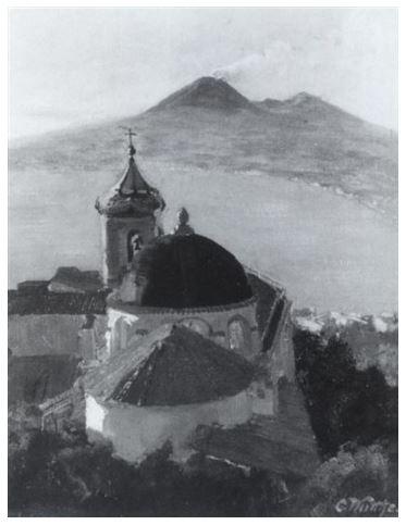 Carl Wuttke, Vista sul Vesuvio e la chiesa di San Francesco, 37 x 29 cm