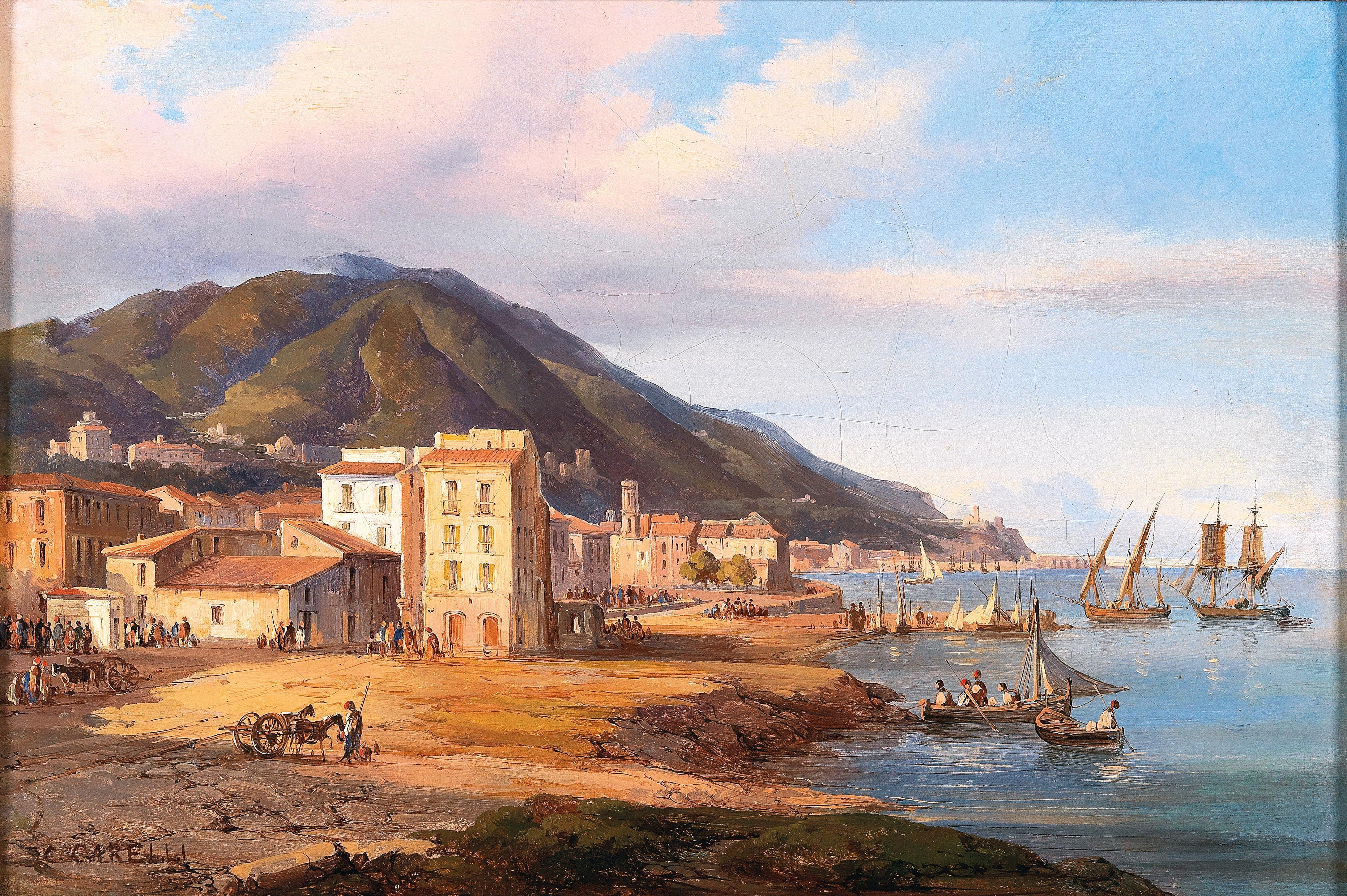 Fig.1 Consalvo Carelli, Castellammare di Stabia, Largo del Quartuccio (sul retro: Napoli 1842)