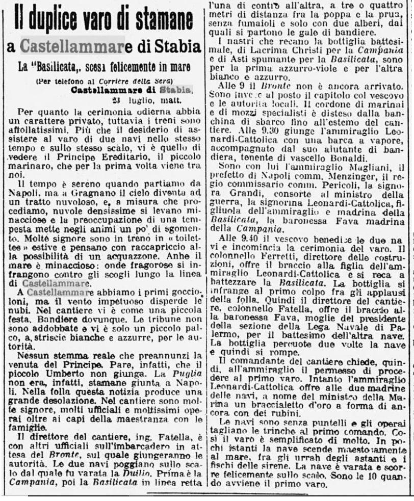 Duplice varo a Castellammare, Corriere della Sera, 23 Luglio 1914