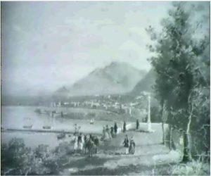 Giacinto Gigante, Figure su una terrazza con vista, olio su tavola, 19 x 26.7 cm