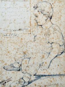 Giacinto Gigante, Laura Gigante, Castellammare 1834, tecnica mista su carta 28,5x21 firmato in basso a destra Mia figlia Laura Gigante Castellammare 1834