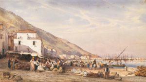 Giacinto Gigante. Mercato a Castellammare,tecnica mista su carta, 20,5x37,