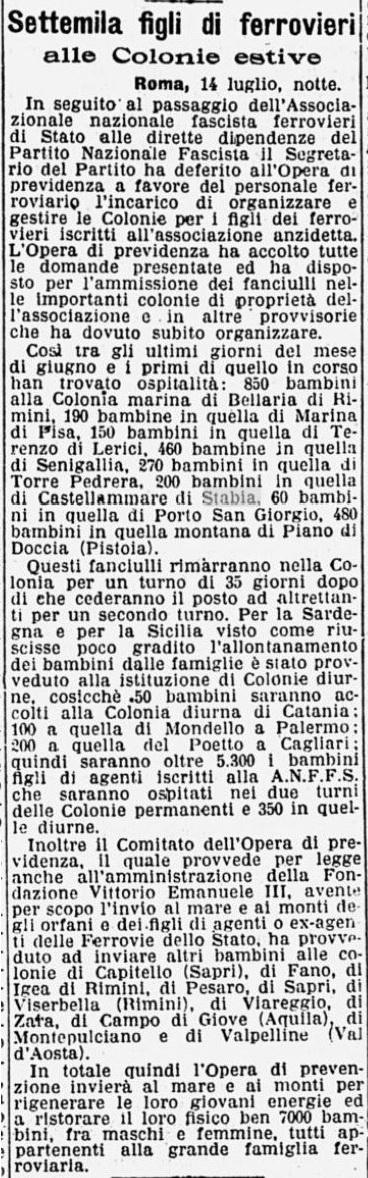 Le colonie dei Ferrovieri, Corriere della Sera 15 Luglio 1931