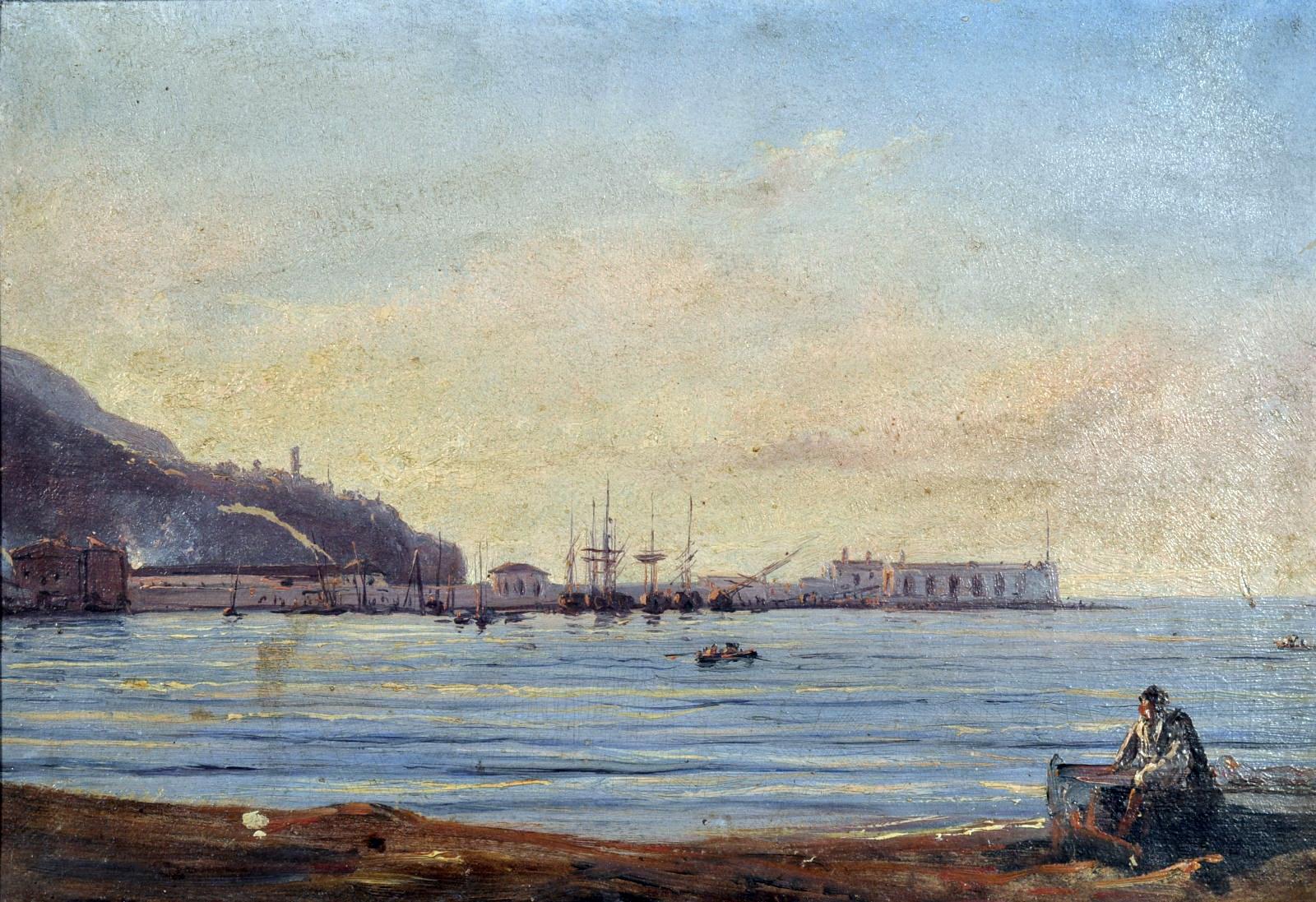 Giacinto Gigante, Scuola di Posillipo, Marina olio su carta rip. su tela, cm 18x26,5