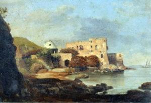Giacinto Gigante, Scuola di Posillipo, Portocarello, olio su carta rip. su tela, cm 25,5x37