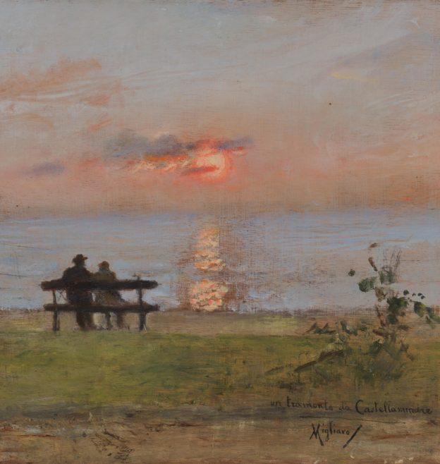 Vincenzo Migliaro, un tramonto da Castellamare, olio su tavola, 24x24