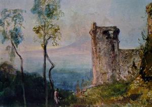Giacinto Gigante, La torre di Castellammare, collezione Zezon Salvago, Napol, cm. 40 x 59
