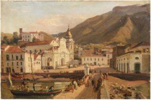 Giacinto Gigante, Piazza Municipio, olio su carta, 25,,5 x 38