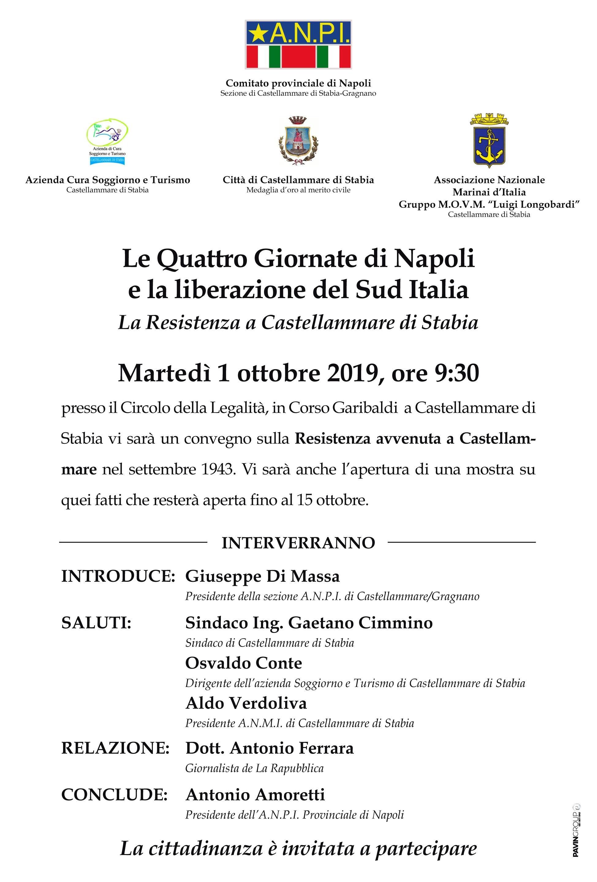 1 OTTOBRE 2019 - ANPI La Resistenza a Castellammare