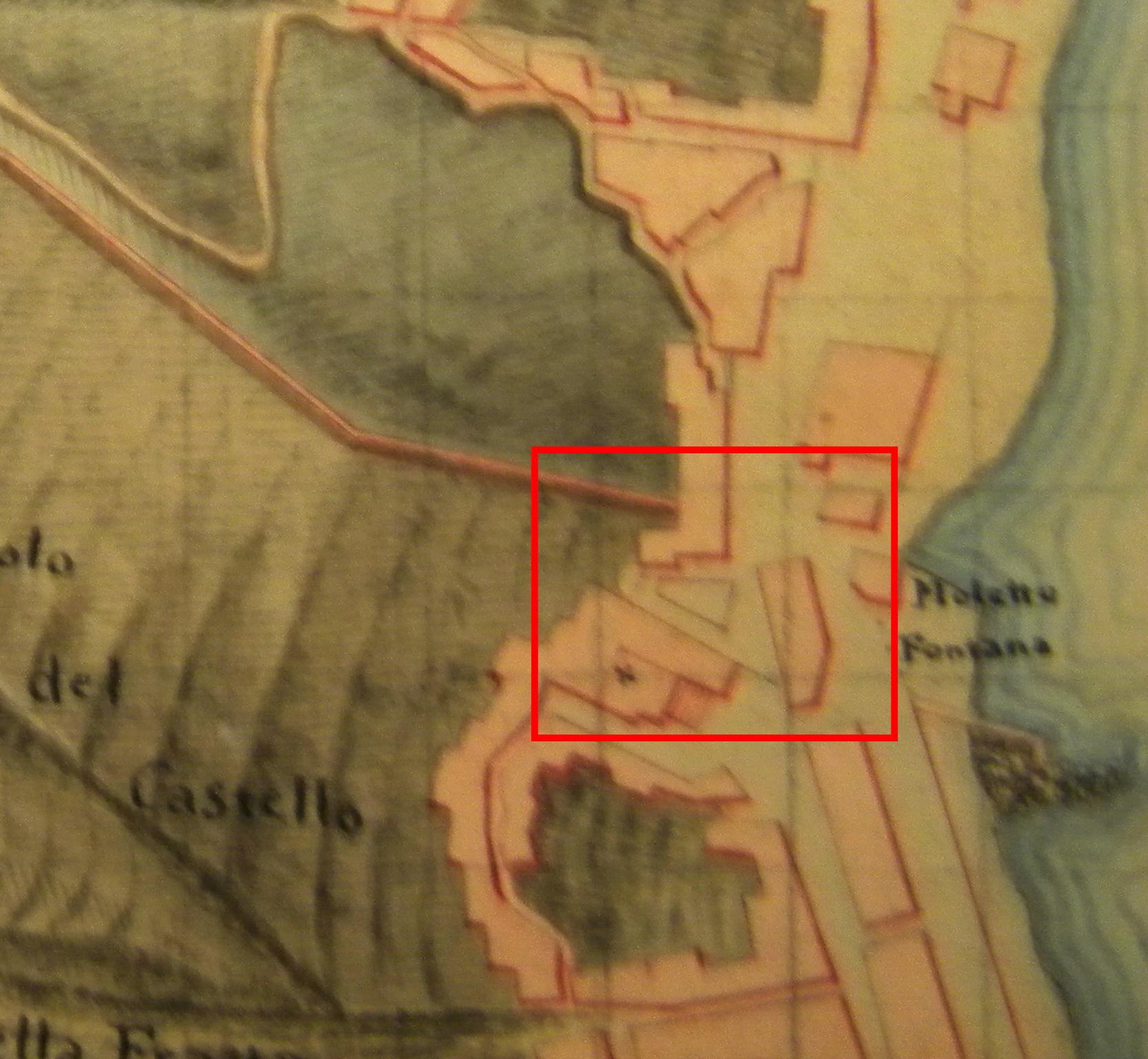 Fig. 3 Particolare della pianta precedente; contrada della Fontana Grande