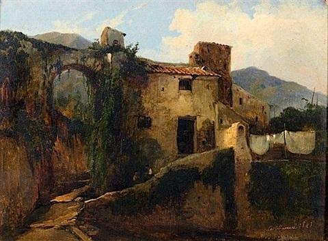Vue de Castellammare, Jules Louis Philippe Coignet,28 x 37.5 cm,1843