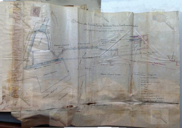 Figura 1: Pianta della Contrada Largo Fontana Grande in Castellammare di Stabia, firmata dicembre 1891, Ing. Annibale Corradi, Archivio di Stato di Napoli