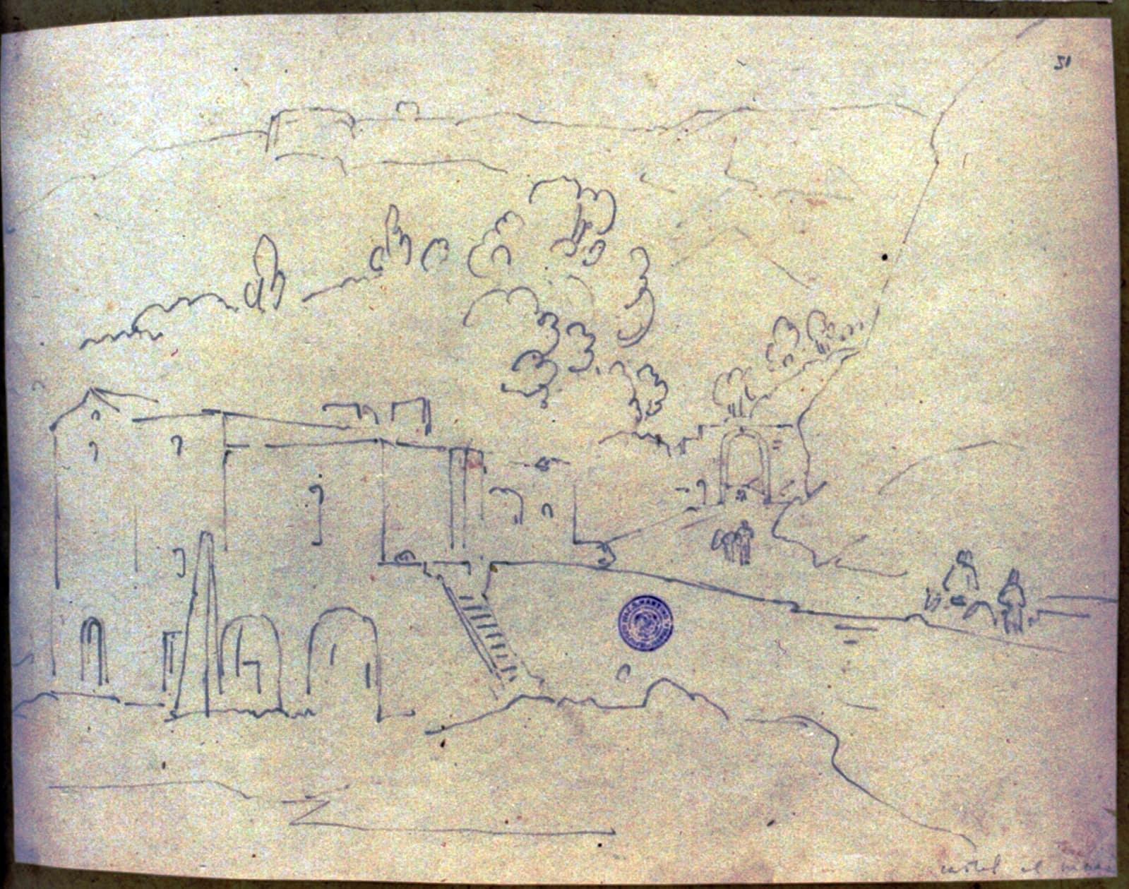 Frans Vervoloet, Salita del Mulino, disegno a matita rinvenuto da Salvatore Gallo