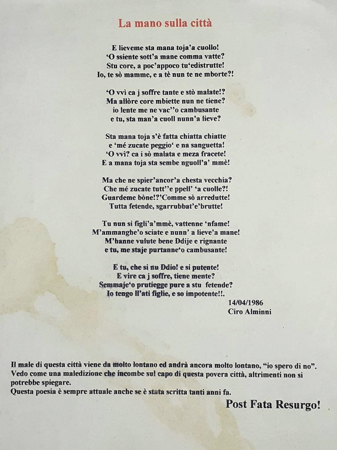 Uno scritto autografo degli anni ottanta ancora oggi attualissimo, ritrovato dal figlio Alfredo